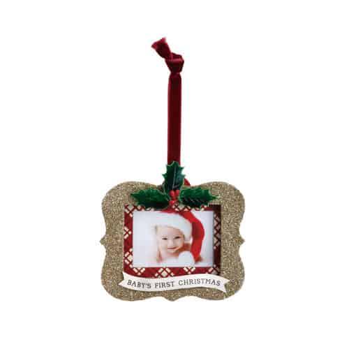 Baby\'s First Christmas Glitter Frame Ornamnet | Wyoming Home
